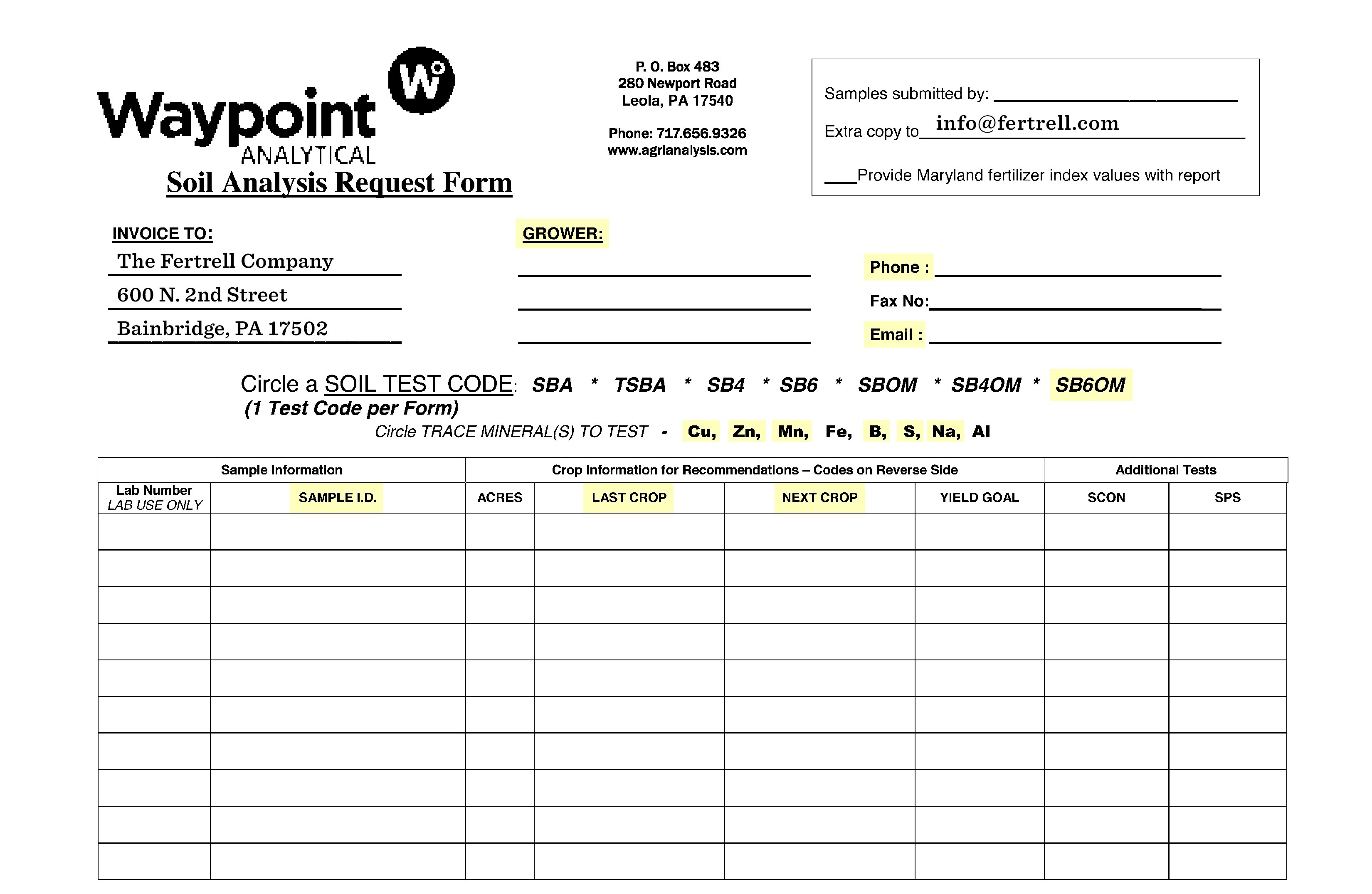 Waypoint Submittal Form
